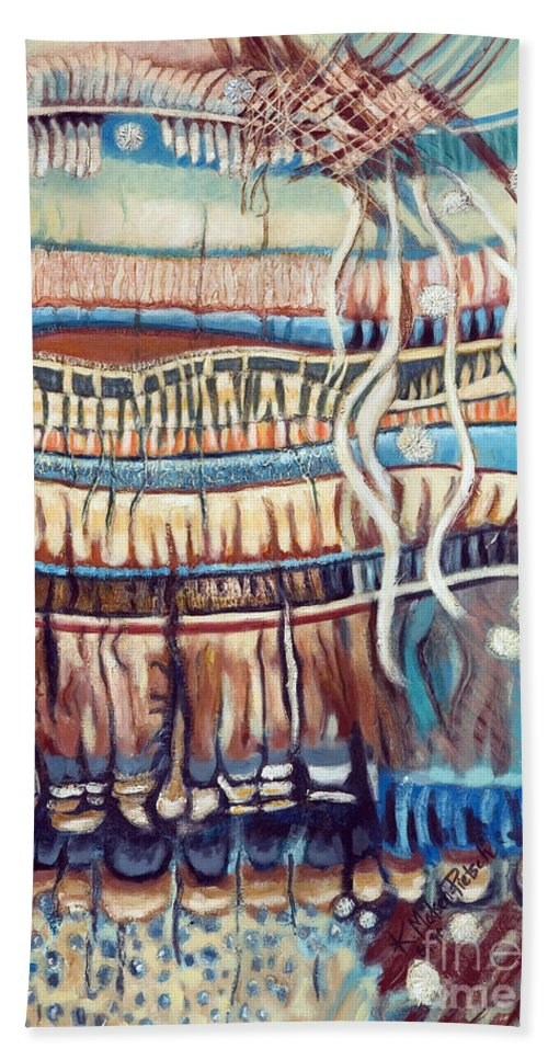 Abstract Bath Sheet featuring the painting Palm Contractions by Kerryn Madsen-Pietsch