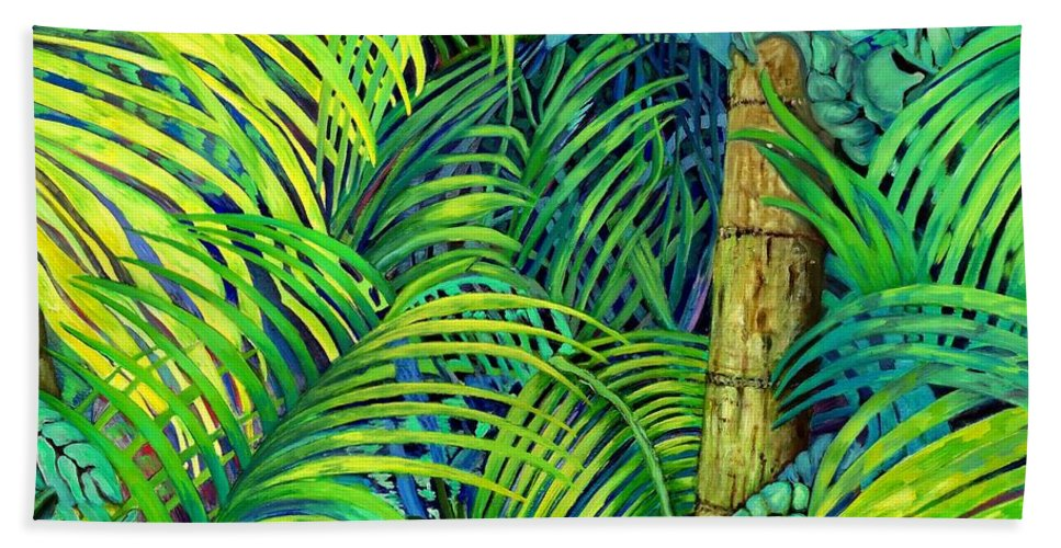Trees Hand Towel featuring the painting Palm Leaves by Caroline Street