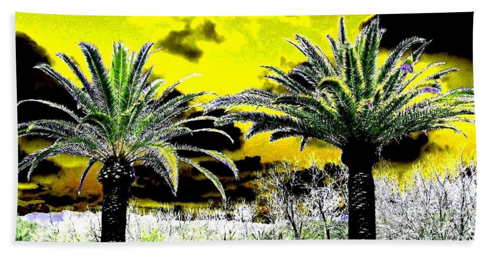 Palm Trees Bath Towel featuring the digital art Palm Paradise  by Will Borden