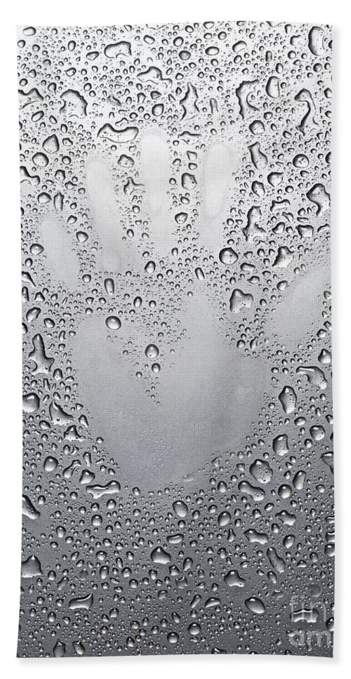 Palm Bath Sheet featuring the photograph Palm Print On Wet Metal Surface by Oleksiy Maksymenko