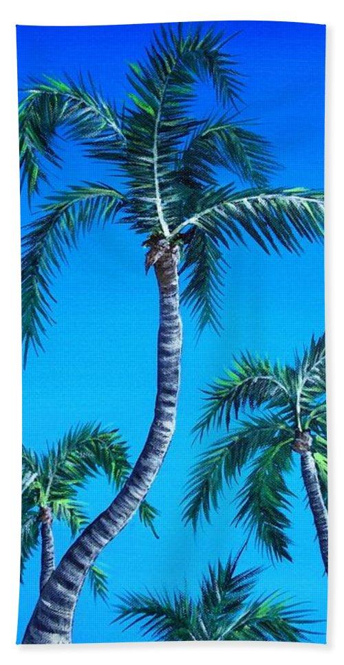 Palm Bath Towel featuring the painting Palm Tops by Anastasiya Malakhova