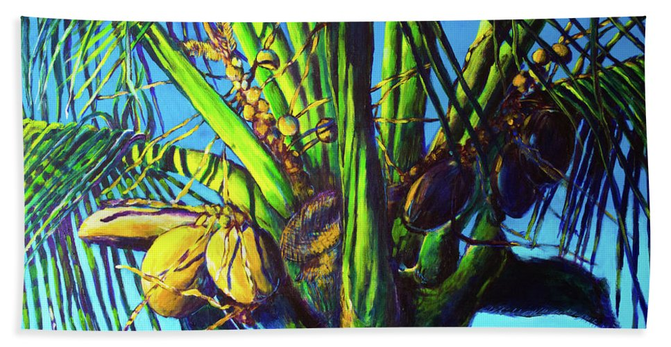 Caribbean Bath Sheet featuring the painting Palm Tree At Sunset by Paulene Edwards