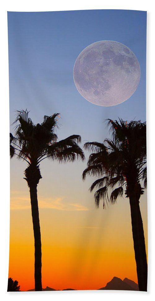 Palm Hand Towel featuring the photograph Palm Tree Full Moon Sunset by James BO Insogna