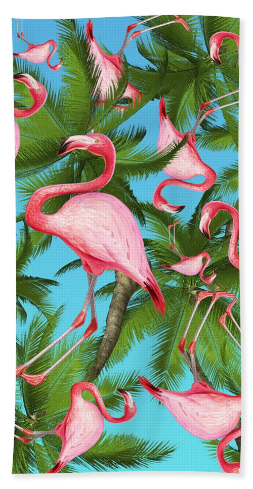 Summer Hand Towel featuring the digital art Palm tree and flamingos by Mark Ashkenazi