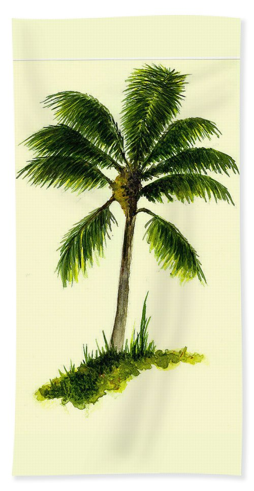 Tree Bath Sheet featuring the painting Palm Tree Number 1 by Michael Vigliotti
