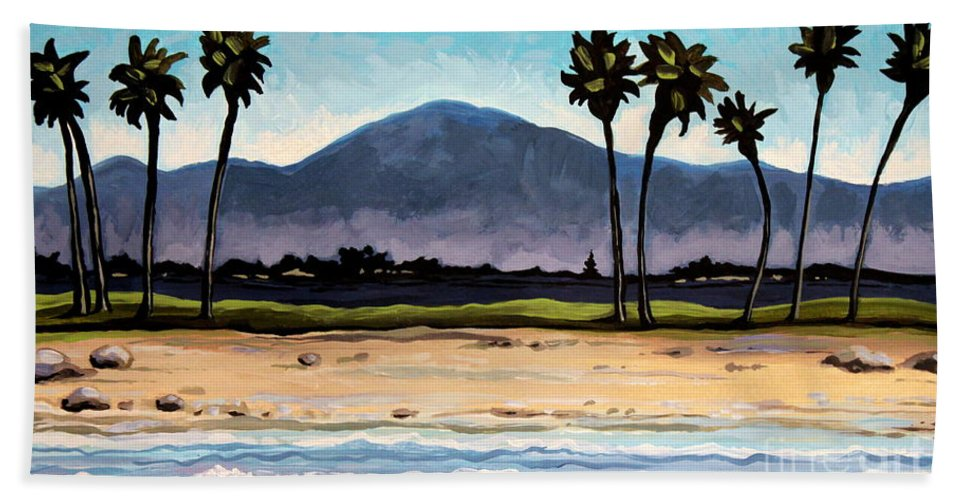 Beach Bath Sheet featuring the painting Palm Tree Oasis by Elizabeth Robinette Tyndall