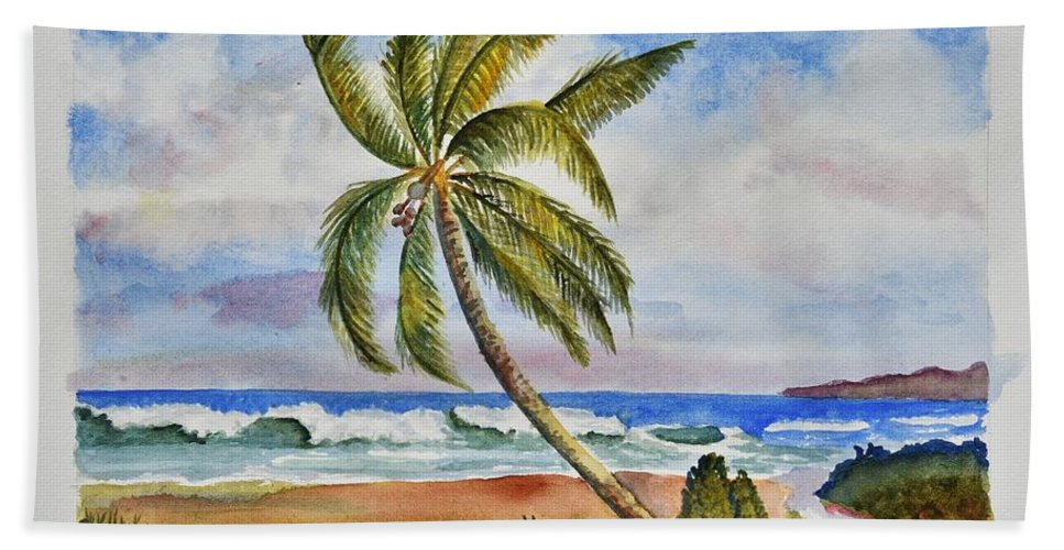 Linda Brody Hand Towel featuring the painting Palm Tree Ocean Scene by Linda Brody
