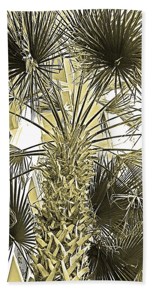 Digital Art Hand Towel featuring the photograph Palm Tree Pen And Ink Grayscale With Sepia Tones by Marian Bell
