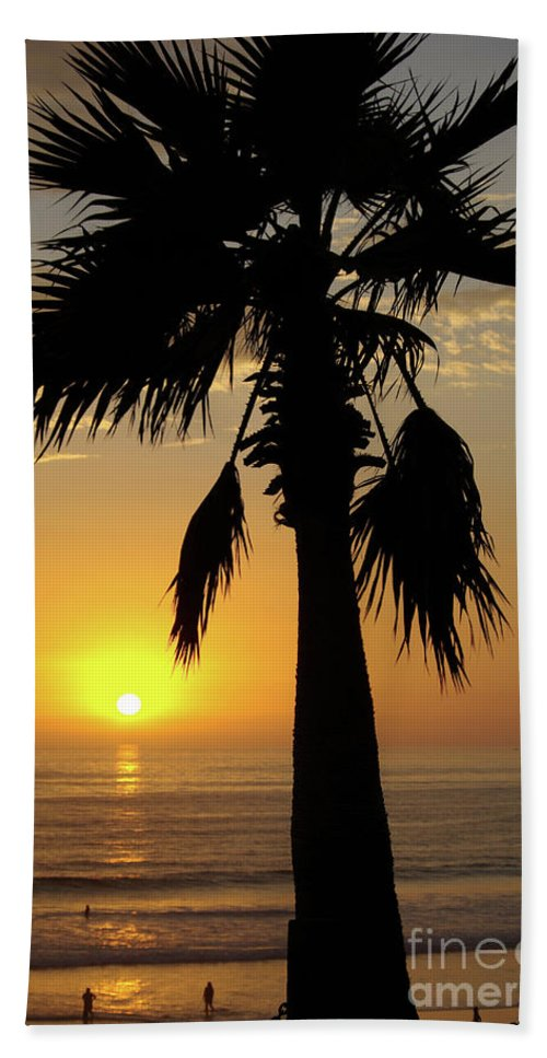 Beach Bath Sheet featuring the photograph Palm Tree Sunset by Jim And Emily Bush