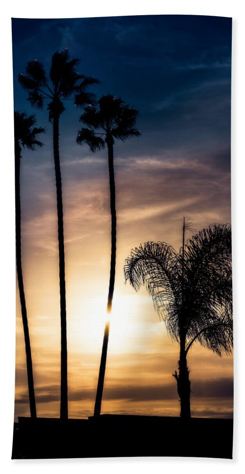 Santa Ana California Bath Sheet featuring the photograph Palm Tree Sunset Silhouette by Peter v Quenter