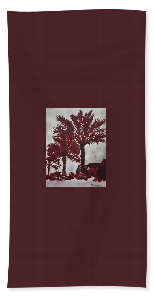 Palm Trees Hand Towel featuring the painting Palm Trees Acrylic Modern Art Painting by Derek Mccrea