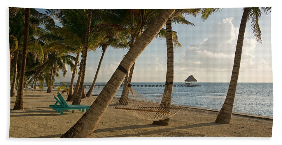 Photography Bath Sheet featuring the photograph Palm Trees And Hammock On San Pedro by Panoramic Images