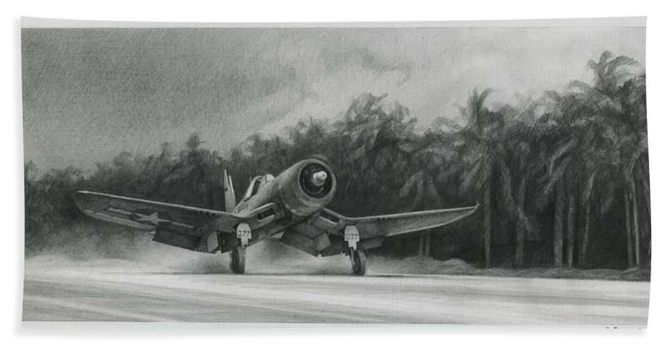 F4u Bath Towel featuring the drawing Palm Trees And Pistons by Wade Meyers