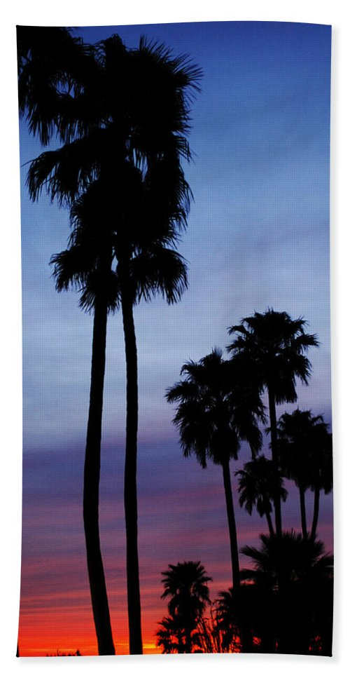 Palm Trees Hand Towel featuring the photograph Palm Trees At Sunset by Jill Reger