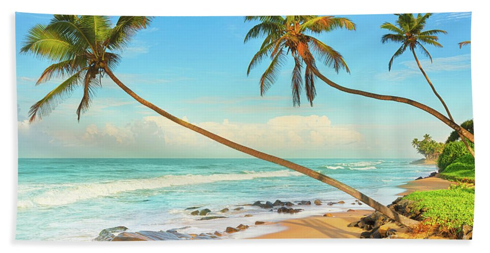 Beach Bath Sheet featuring the photograph Palm Trees Over The Sea by MotHaiBaPhoto Prints