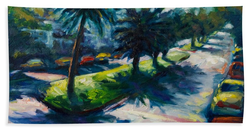 Cityscape Bath Towel featuring the painting Palm Trees by Rick Nederlof