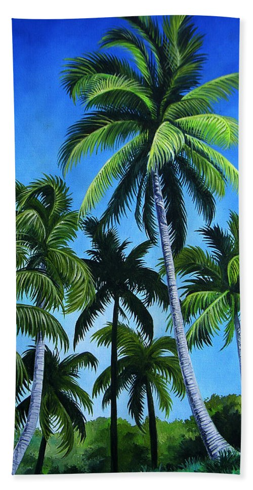 Palms Hand Towel featuring the painting Palm Trees Under A Blue Sky by Juan Alcantara