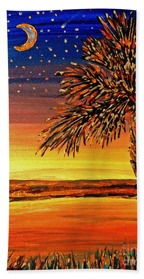 Palmetto Hand Towel featuring the painting Palmetto Sunset by Patricia L Davidson