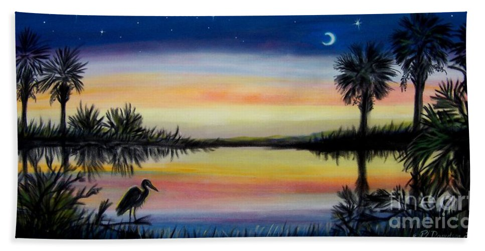 Palmetto Night Bath Sheet featuring the painting Palmetto Tree and Moon Low Country Sunset by Patricia L Davidson