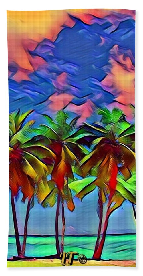 Rainbow Colors Bath Sheet featuring the photograph Palms 2 by Linda Todd
