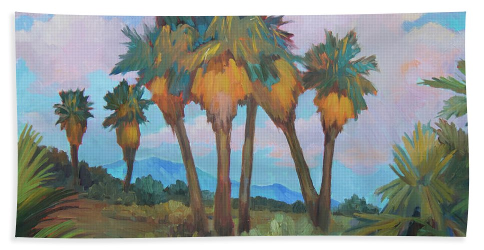 Anza Hand Towel featuring the painting Palms At Anza Borrego State Park by Diane McClary