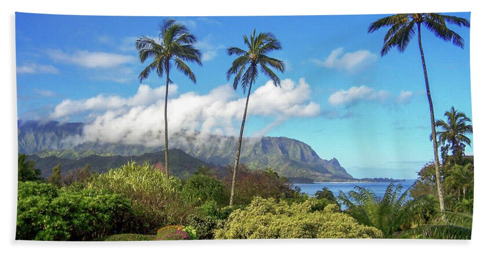 Landscape Bath Sheet featuring the photograph Palms At Hanalei by James Eddy