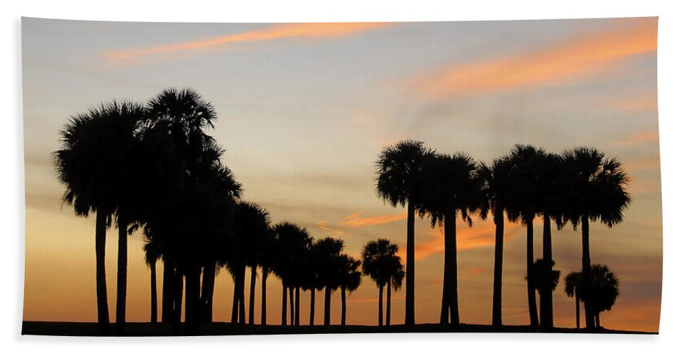 Palm Trees Hand Towel featuring the photograph Palms At Sunset by David Lee Thompson