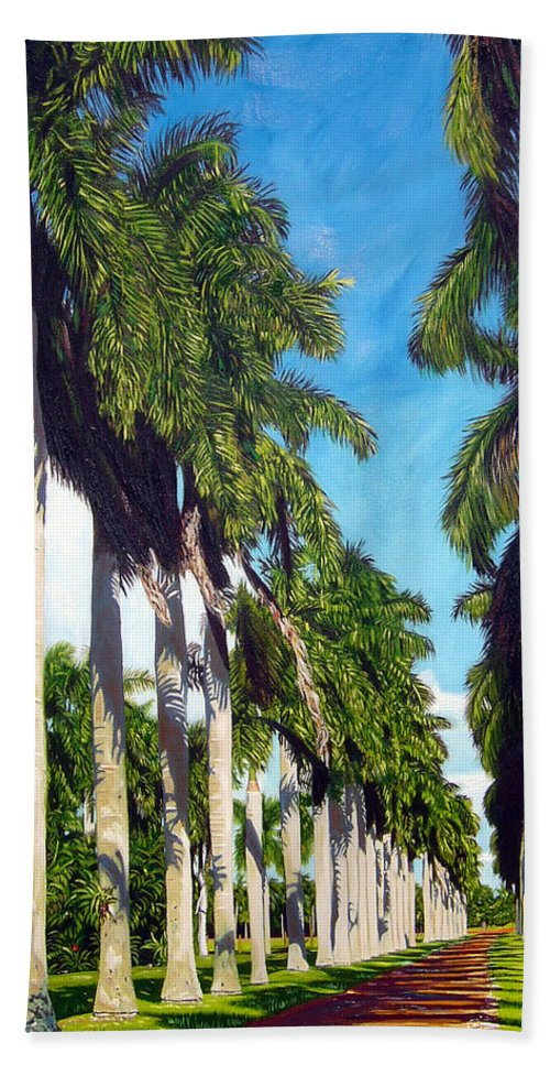 Palms Bath Towel featuring the painting Palms by Jose Manuel Abraham