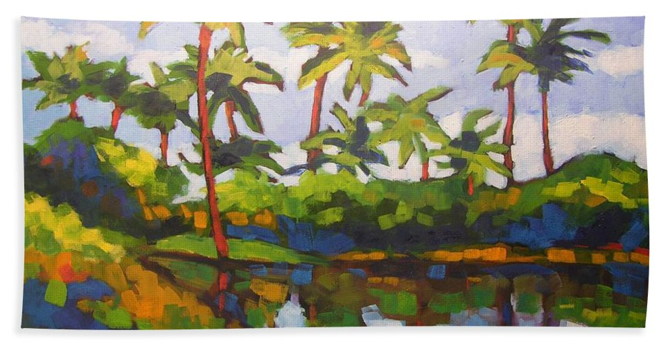 Hawaiian Bath Towel featuring the painting Palms Reflections by Mary McInnis