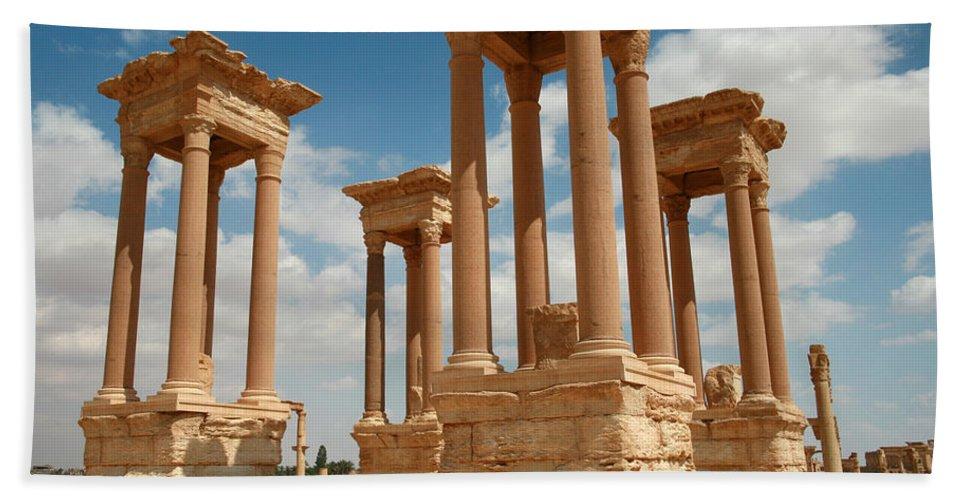 Syria Bath Sheet featuring the photograph Palmyra-tetrapylon by PJ Boylan