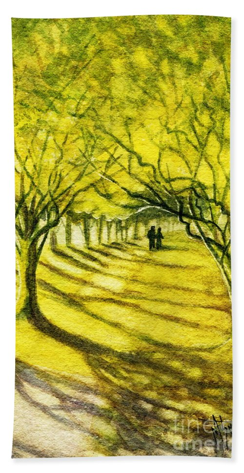 Palo Verde Trees Bath Sheet featuring the painting Palo Verde Pathway by Marilyn Smith