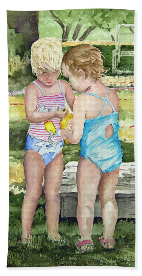 Children Hand Towel featuring the painting Pals Share by Sam Sidders