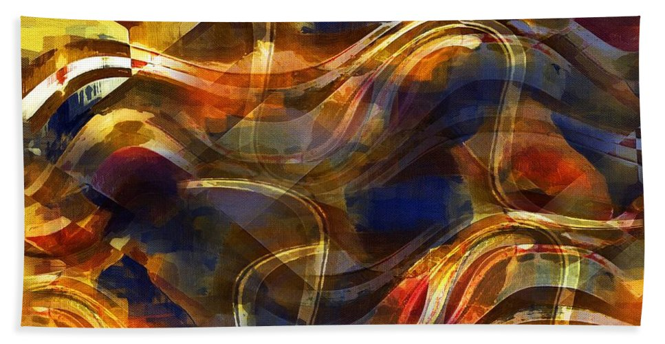 Abstract Hand Towel featuring the painting Pamplona by RC DeWinter