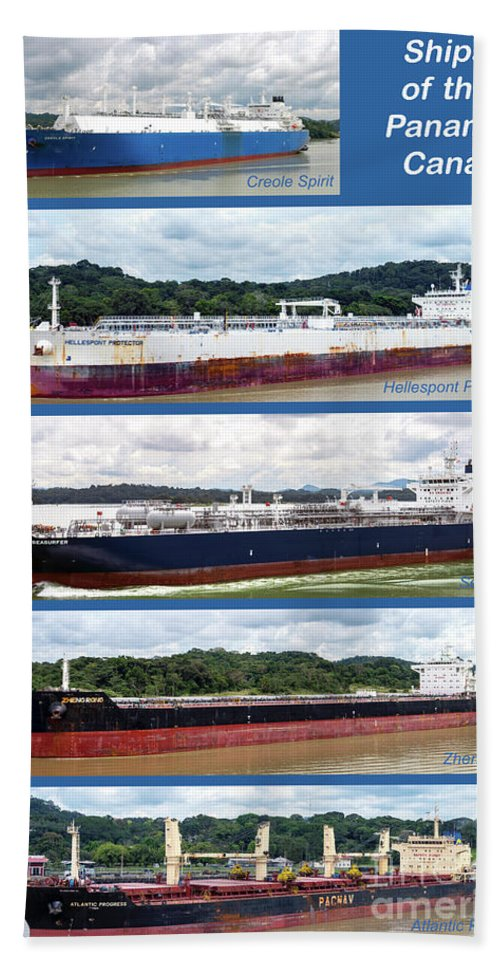 Ship Bath Sheet featuring the photograph Panama Canal Cargo Ships by Kenneth Lempert