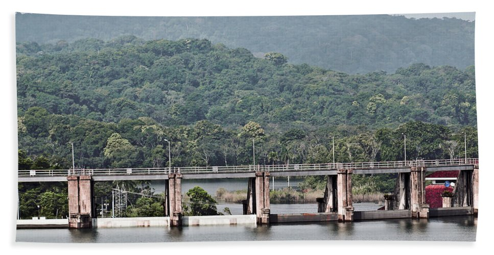 Canal Hand Towel featuring the photograph Panama045 by Howard Stapleton