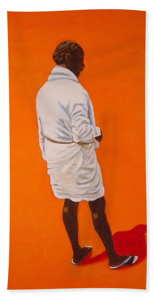 Lungi Hand Towel featuring the painting Panche by Usha Shantharam