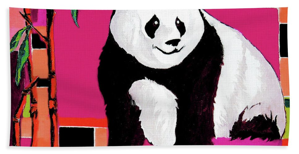Panda Bath Sheet featuring the painting Panda Abstrack Color Vision by Alban Dizdari