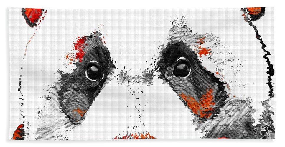 Panda Hand Towel featuring the painting Panda Bear Art - Black White Red - By Sharon Cummings by Sharon Cummings