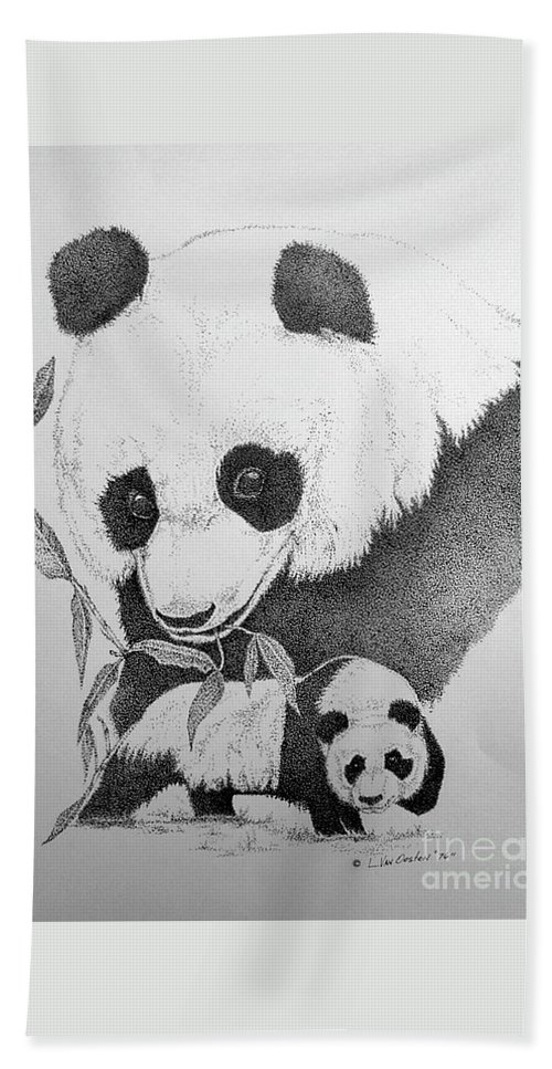 Panda Hand Towel featuring the drawing Panda Collage by Lucien Van Oosten