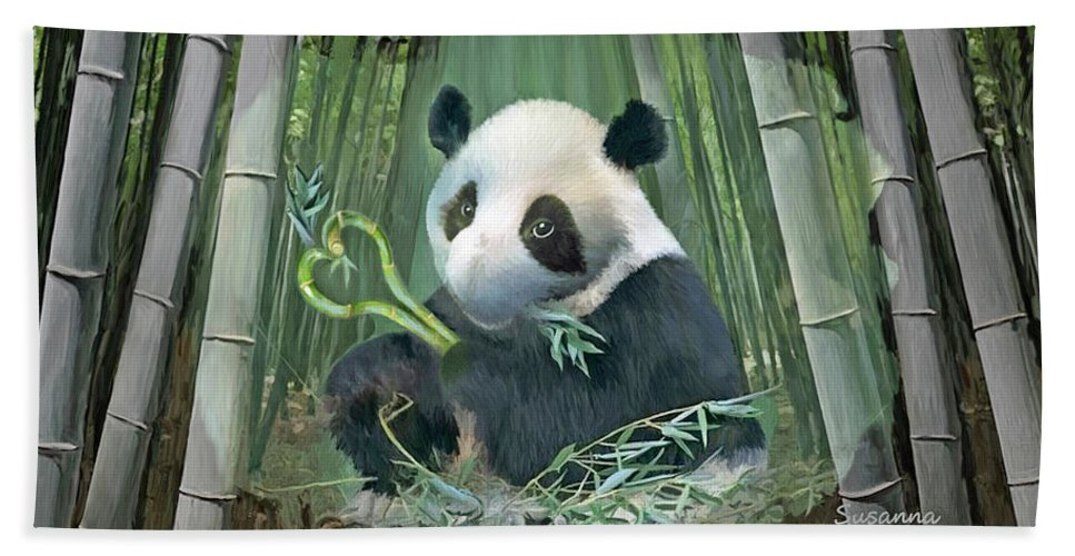 Panda Hand Towel featuring the painting Panda Love by Susanna Katherine