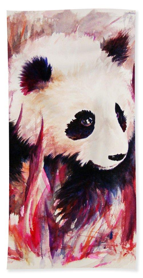 Panda Bath Towel featuring the painting Panda by Rachel Christine Nowicki