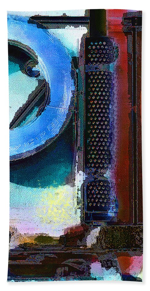 Abstract Bath Sheet featuring the photograph panel one from Centrifuge by Steve Karol