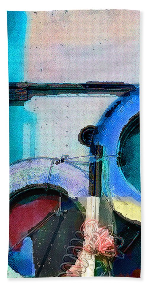 Abstract Bath Sheet featuring the photograph panel three from Centrifuge by Steve Karol