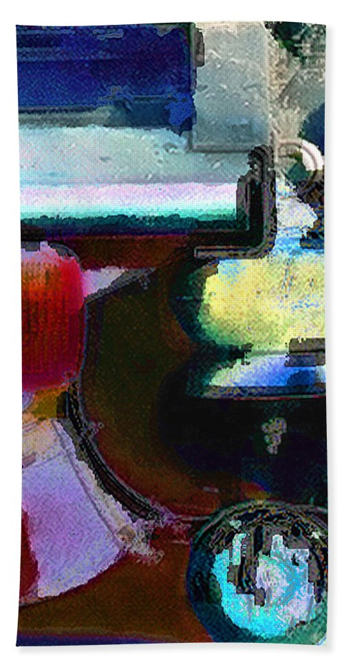 Abstract Bath Sheet featuring the photograph panel two from Centrifuge by Steve Karol