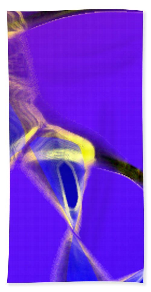 Abstract Hand Towel featuring the digital art panel two from Movement in Blue by Steve Karol