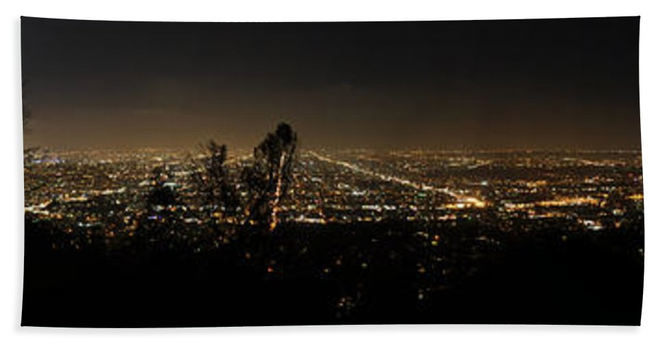Clay Bath Sheet featuring the photograph Pano From Griffeth Observatory by Clayton Bruster