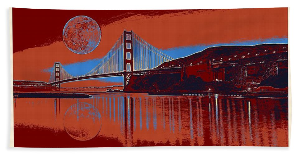 Nature Bath Sheet featuring the painting Panorama Golden Gate Bridge Landmark 2 by Celestial Images