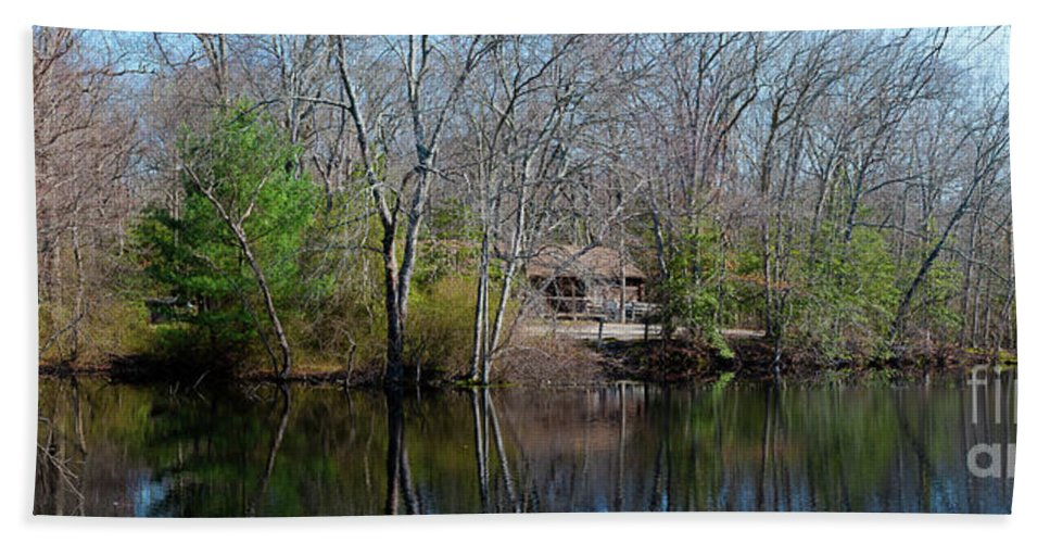 Blue Water Bath Sheet featuring the photograph Panorama Of Lake, Trees And Cabin by Joe Benning