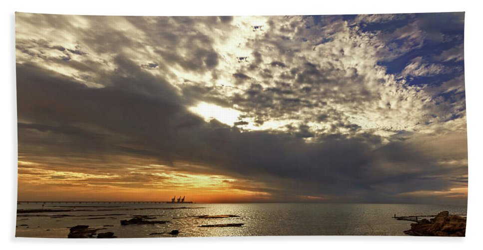 Sunset Bath Sheet featuring the photograph Panorama Of The Sunset In Caesarea by Adriana Zoon