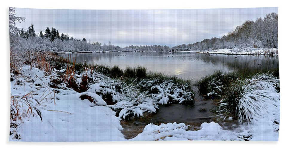 Vancouver Bath Sheet featuring the photograph Panorama Of Winter Lake by Diwar Lee